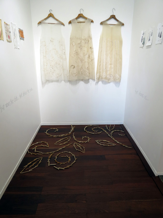 1.  Sketches  installation by Trish Bygott, silk, silk organza, cotton, silk thread, NFS