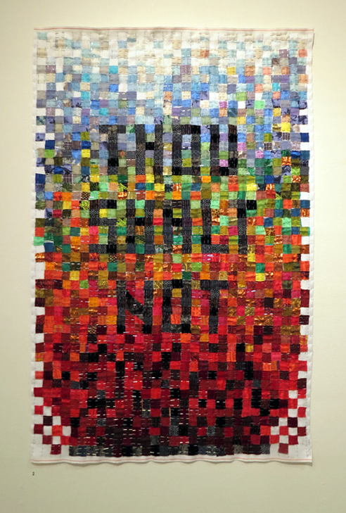 2.  Unless-A Sampler  by Trish Little, pins, various fabrics, embroidery, $1500