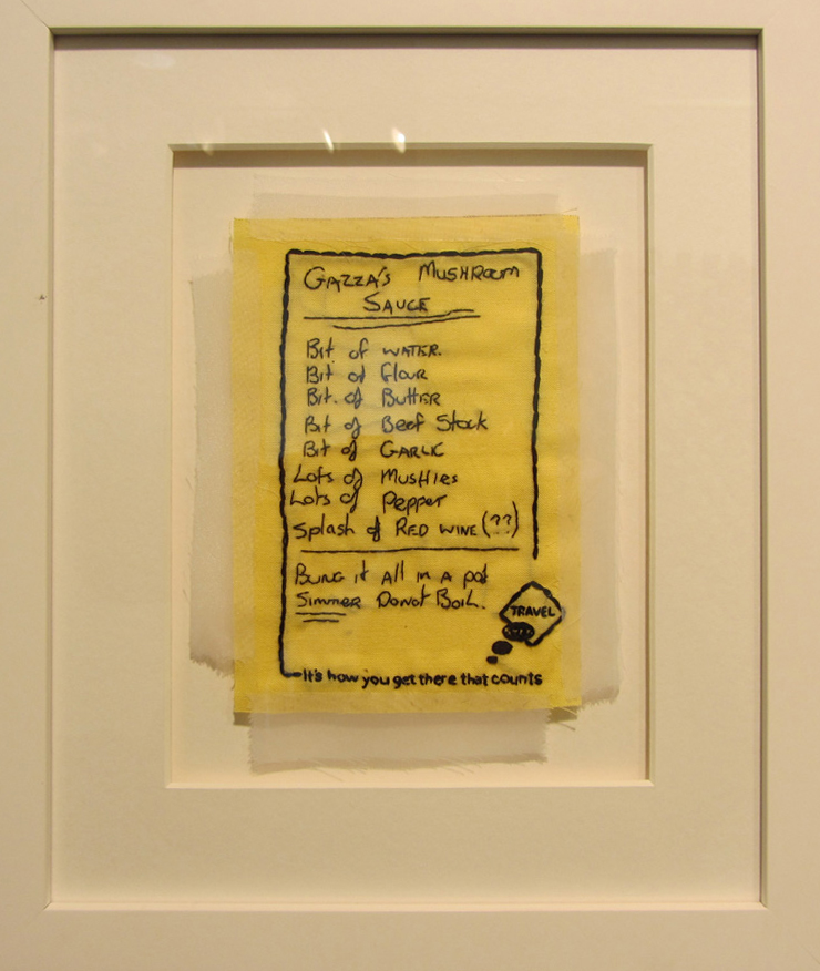 12.  Gazza's Mushroom Sauce  by Bonnie Boogaard  hand embroidery on cotton and organza, $400