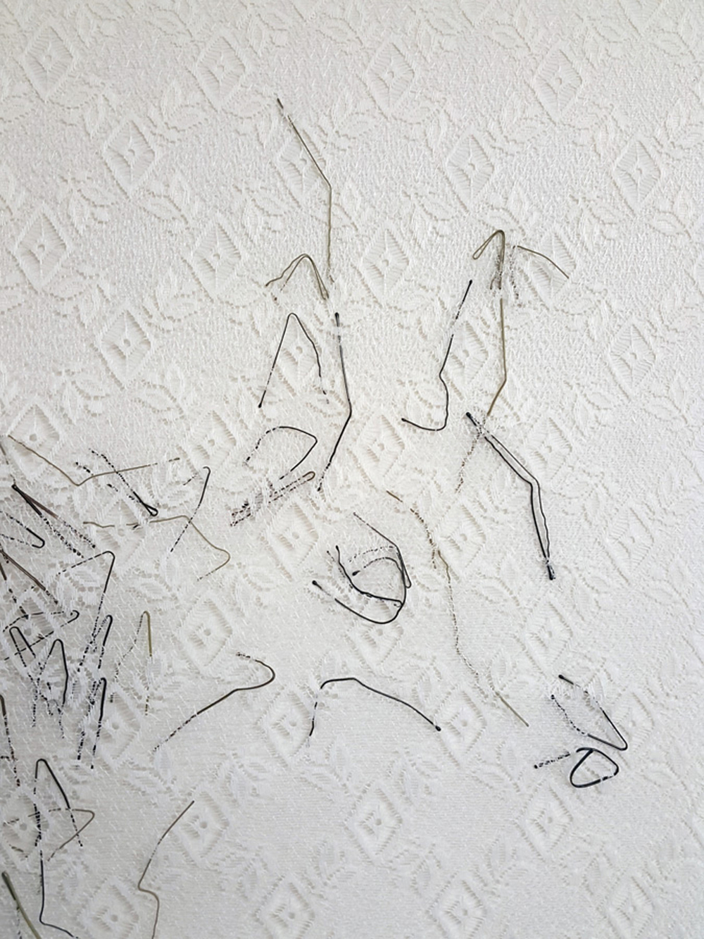 11.  Interior (numbat)  (detail),  Neil Aldum, bed sheet, curtain, bobby pins, $700