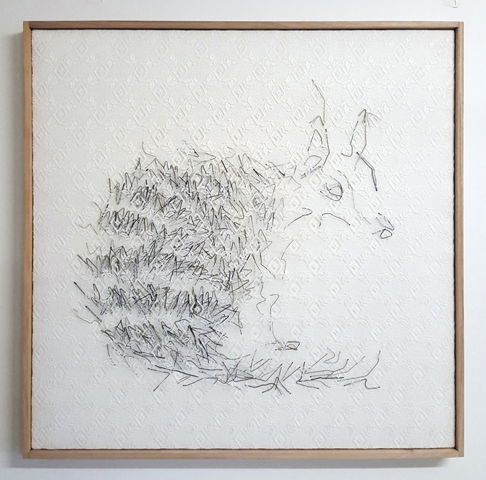 11.  Interior (numbat) , Neil Aldum, bed sheet, curtain, bobby pins, $700