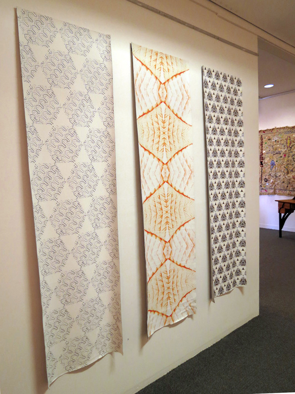 26 - 28.  Wanders - crossstitch , Richelle Doney, leather wallpaper, $730 per drop