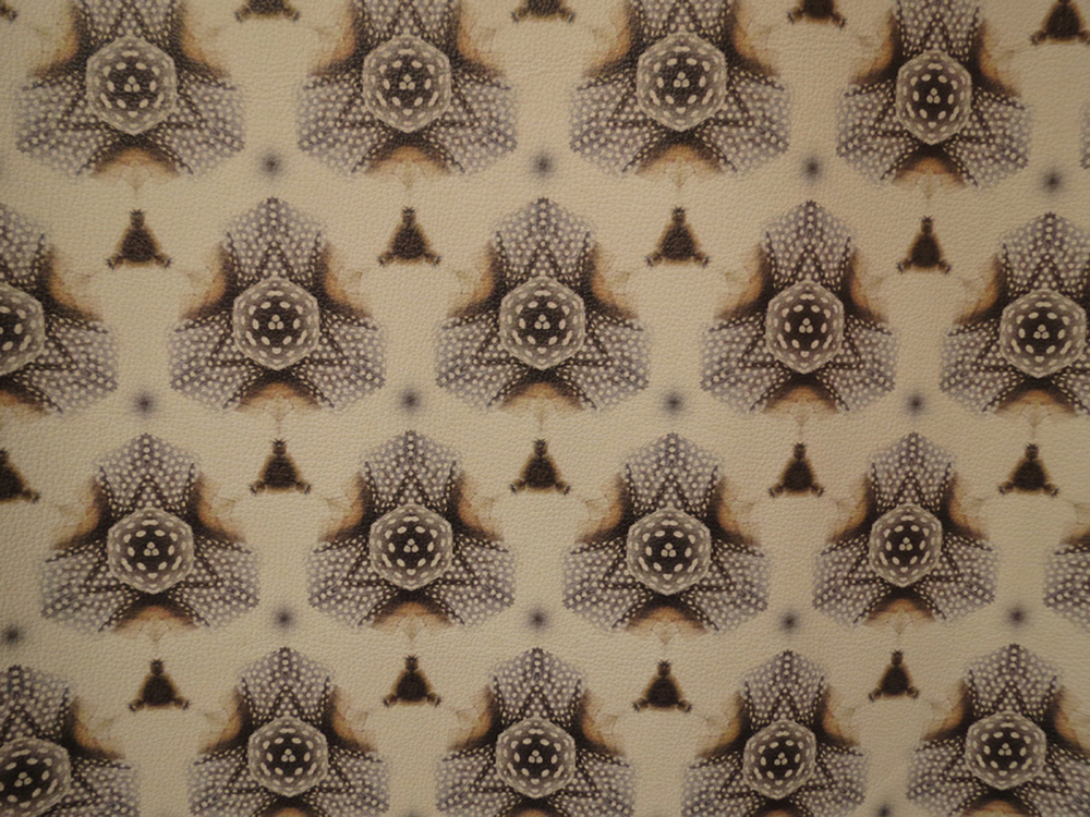 28.  Wanders - crossstitch 3  (detail), Richelle Doney, leather wallpaper, $730 per drop