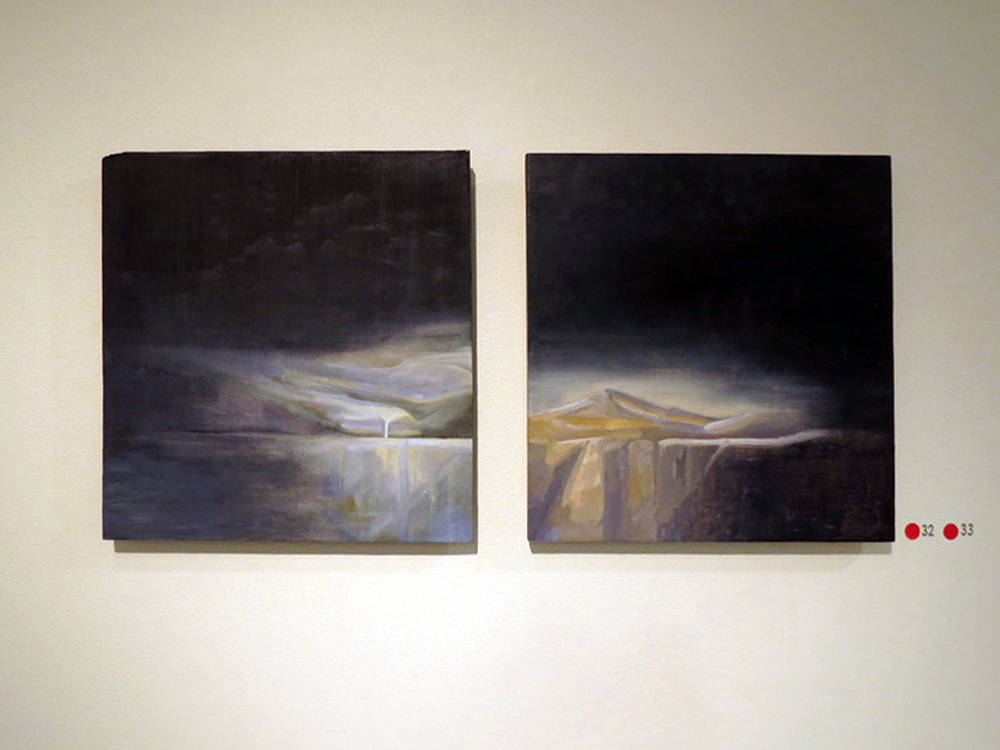 32.  Landscape 1 , Kirstine Sadler, oil on gesso on board, $400  33.  Landscape 2 , Kirstine Sadler, oil on gesso on board, $400