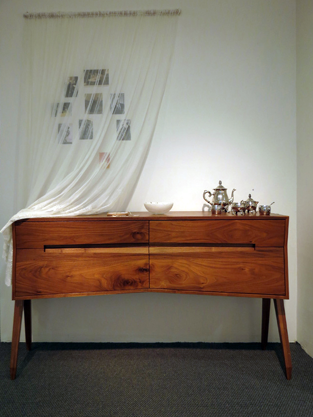 43.  Expectant console in installation , Penelope Forlano, American Black Walnut, $8450 (personal ephemera NFS)