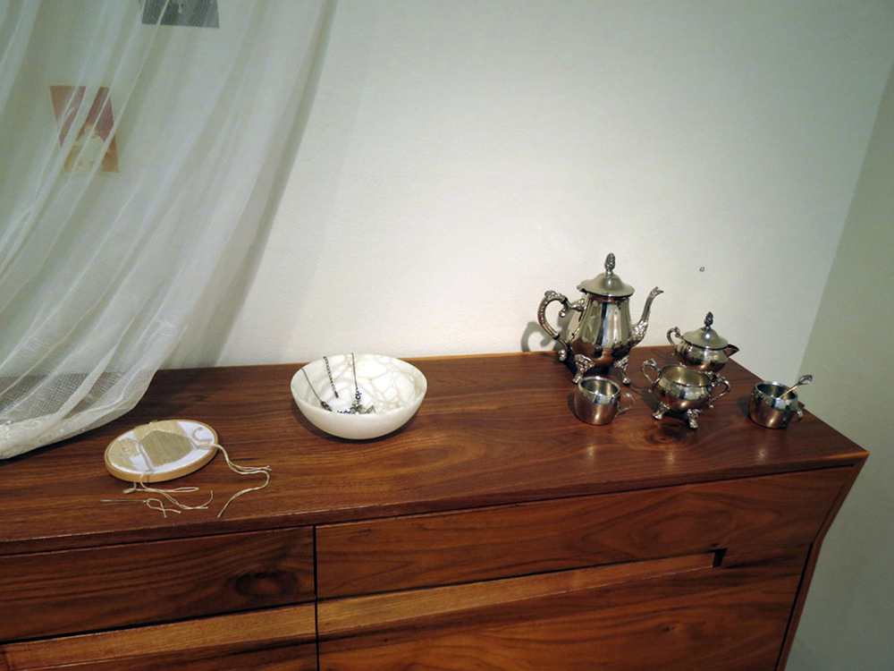 43.  Expectant console in installation  (detail), Penelope Forlano, American Black Walnut, $8450 (personal ephemera NFS)