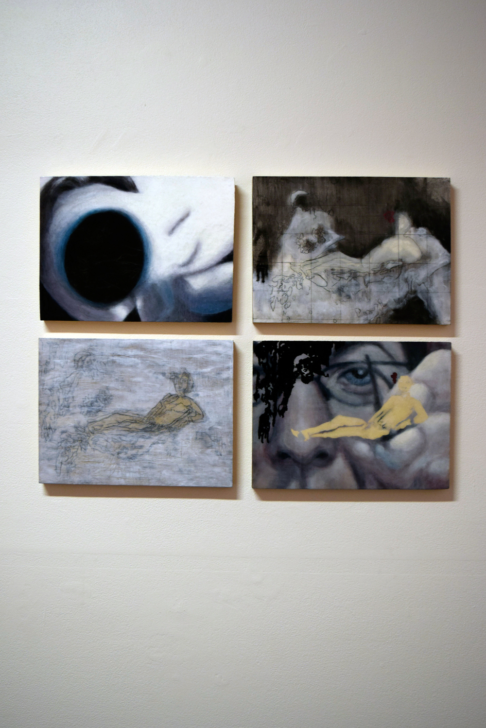 16 - 19.  Olympia Revisited  series, Mel Dare, acrylic, ink, graphite on wooden panel, $600 each or set of 4, $1950