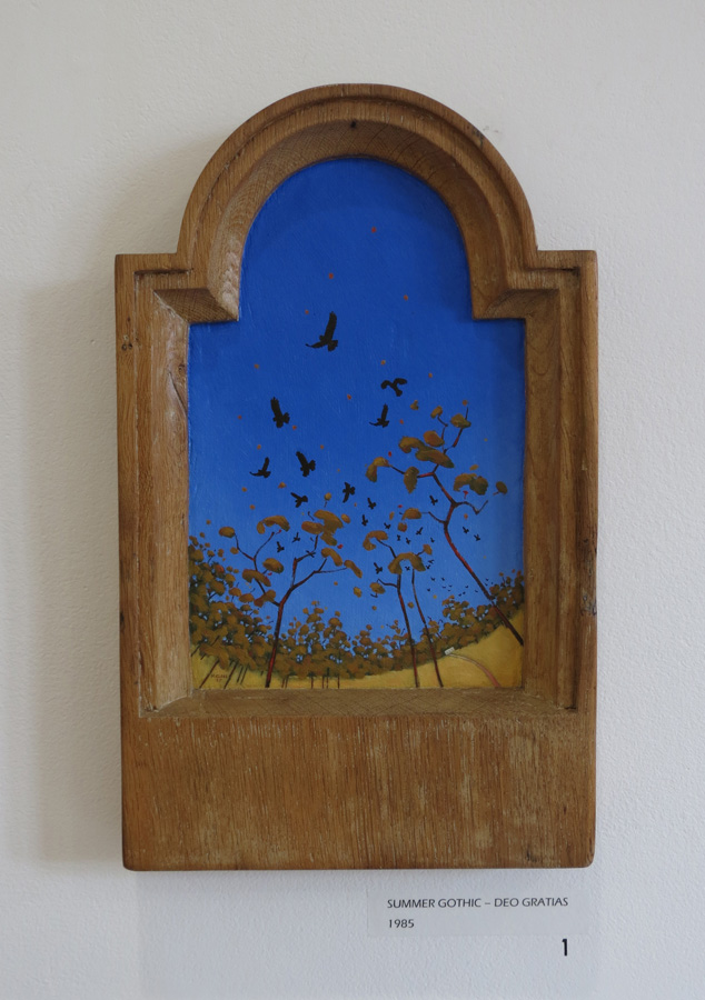 1. Madeleine Clear,  Summer Gothic - Deo Gratias , oil on antique oak panel, 1985, NFS