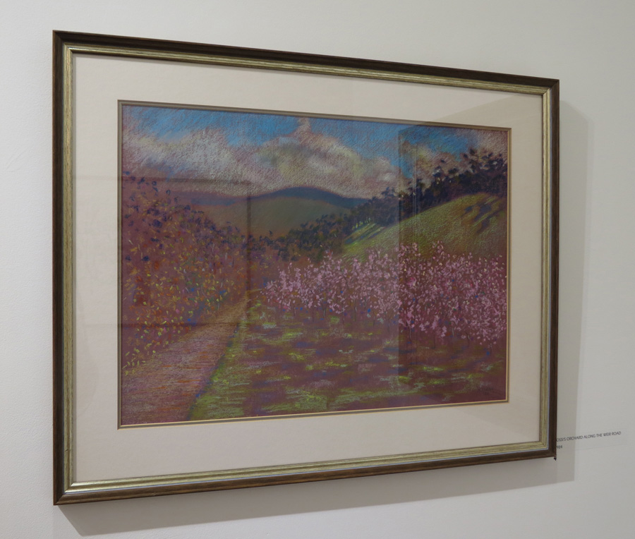 4. Madeleine Clear,  Rossi's Orchard along the Weir Road , oil pastel on paper, 1984, $770