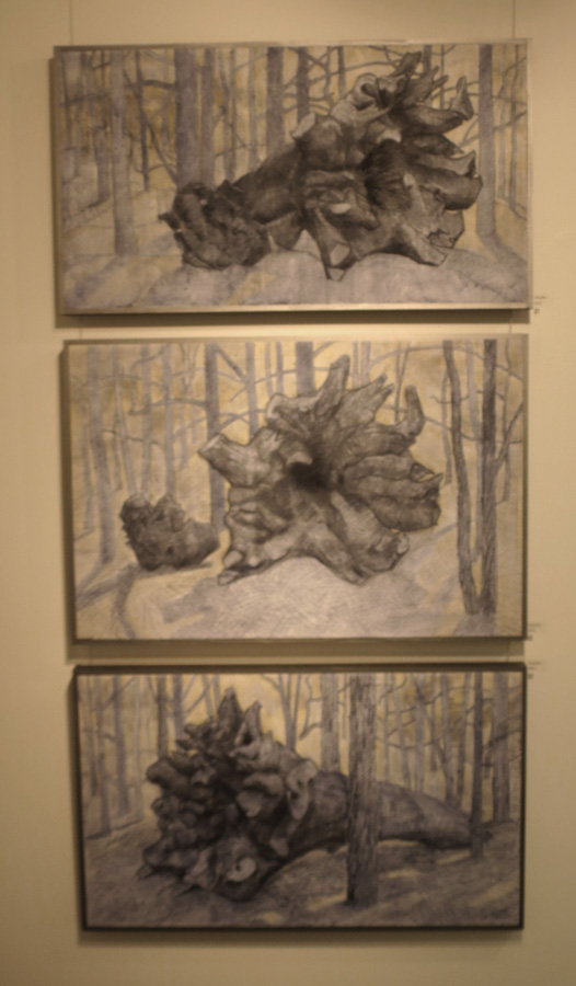 21. Madeleine Clear,  Fallen 1 , charcoal, acrylic on board, 2013, $990  22. Madeleine Clear,  Fallen 2 , charcoal, acrylic on board, 2013, $990  23. Madeleine Clear,  Fallen 3 , charcoal, acrylic on board, 2013, $990