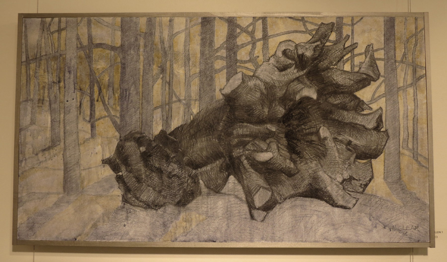21. Madeleine Clear,  Fallen 1 , charcoal, acrylic on board, 2013, $990
