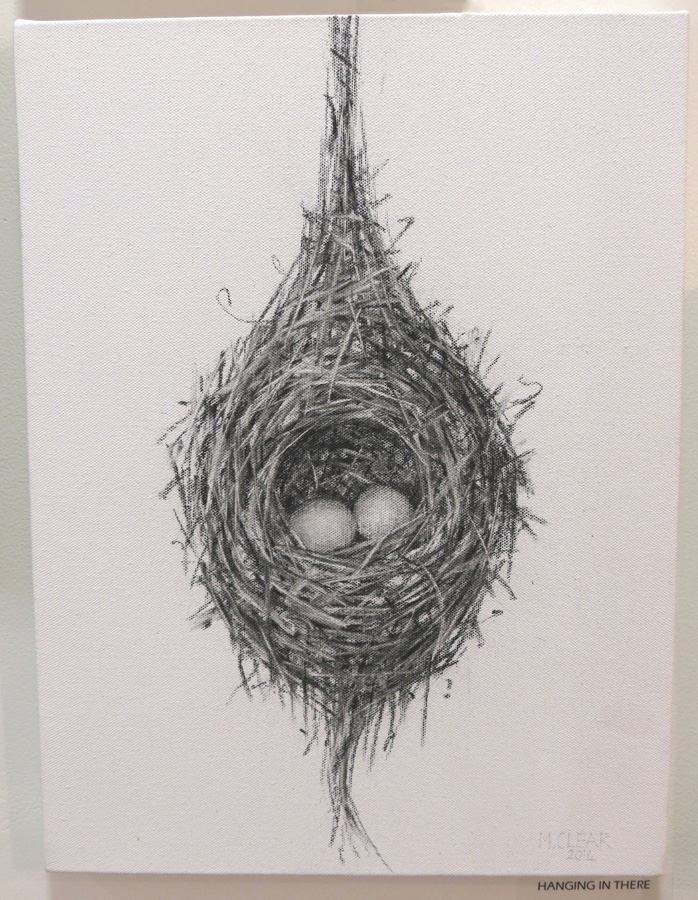 33. Madeleine Clear,  Hanging In There , charcoal on canvas, 2014, $660
