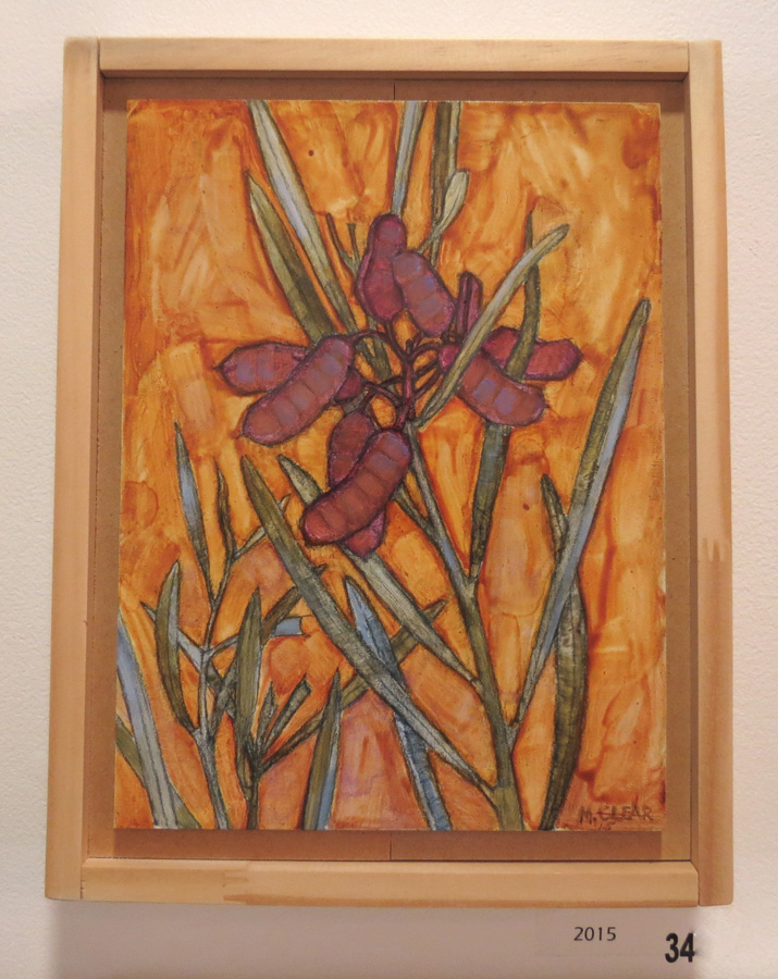 34. Madeleine Clear,  Acacia Pods , oil on Masonite, 2015, $770