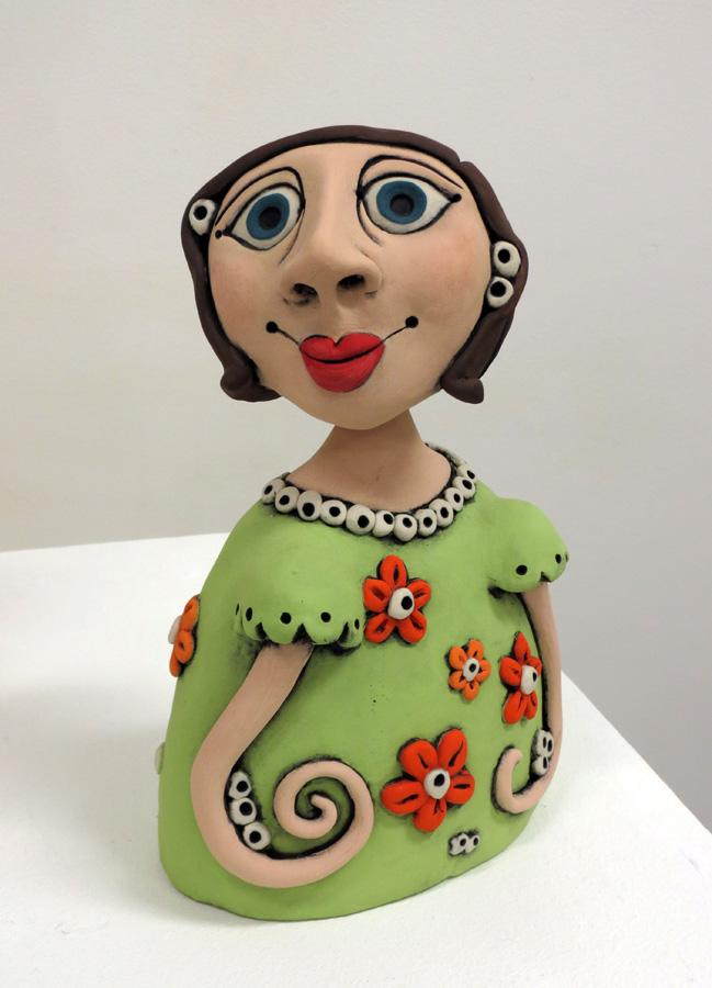 3. Louise Simonette, Who Me , stoneware paper clay,$260