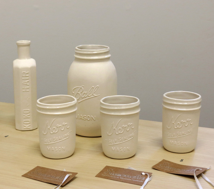 5. Louise Simonette,  Large Kerr Jar,  slip cast porcelain, $32  5. Louise Simonette,  Small Mason-Kerr Jars,  slip cast porcelain, $18 each