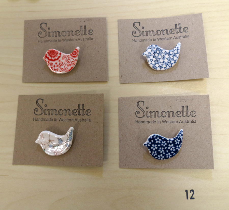 12. Louise Simonette,  Small Dove Brooches    $12.30 each
