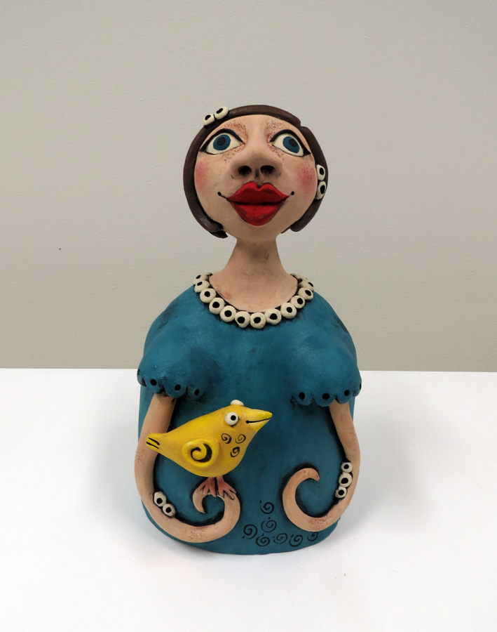17. Louise Simonette,  Celia and Her Yellow Canary , stoneware paper clay, $380
