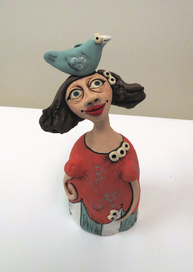 18. Louise Simonette,  My Friend Titch , stoneware paper clay, $120