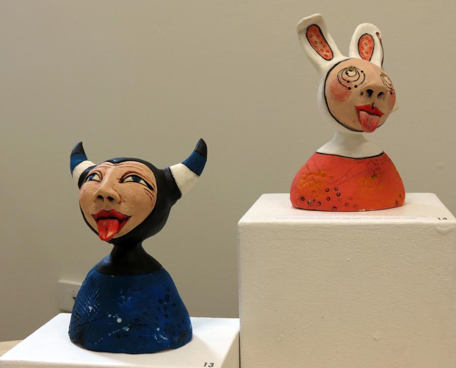 13. Louise Simonette, Attitude Man , stoneware paper clay,$120  14.Louise Simonette, Bad Boy Bunny , stoneware paper clay,$120