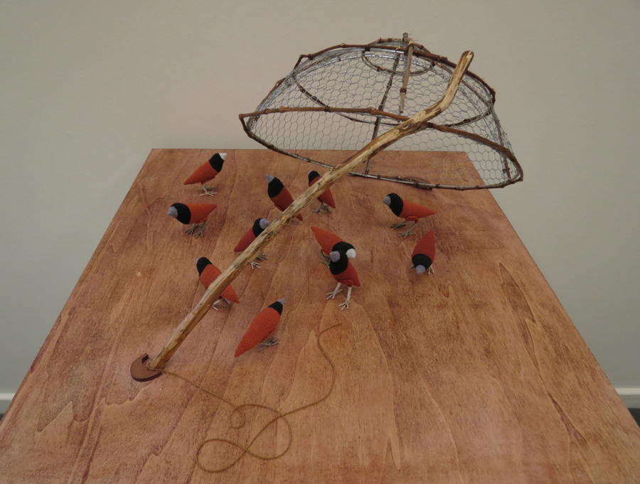 7. Mikaela Castledine,  Before You Can Be Freed You Must Be Captured , crochet cotton and copper wire, $200 each finch