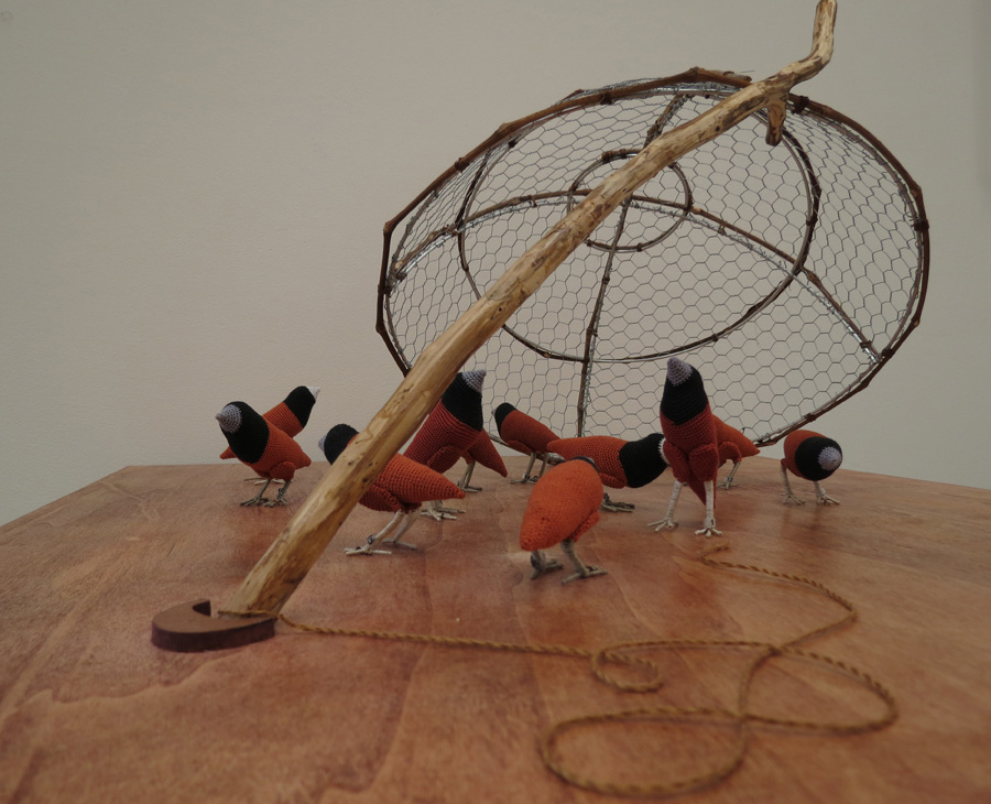 7. Mikaela Castledine,  Before You Can Be Freed You Must Be Captured  (detail), crochet cotton and copper wire, $200 each finch