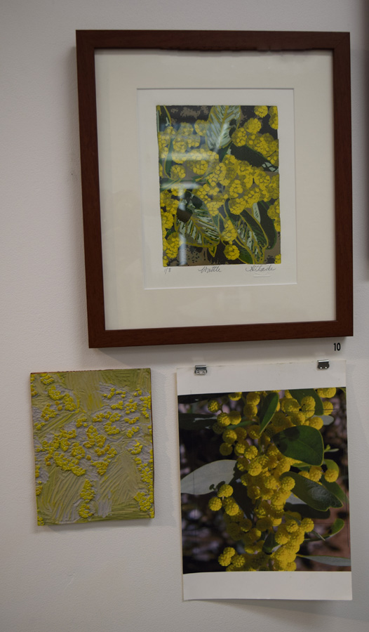 10. Helen Clarke,  Wattle , 1 of 8, linocut with lino plate and original photo, $200