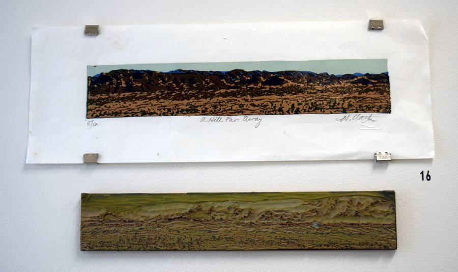 16. Helen Clarke,  A Hill Far Away , 5 of 12, linocut on bamboo paper with plate, $160