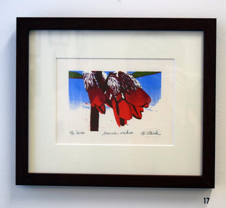 17. Helen Clarke, Nemcia rubra , 4 of 6, linocut,$170