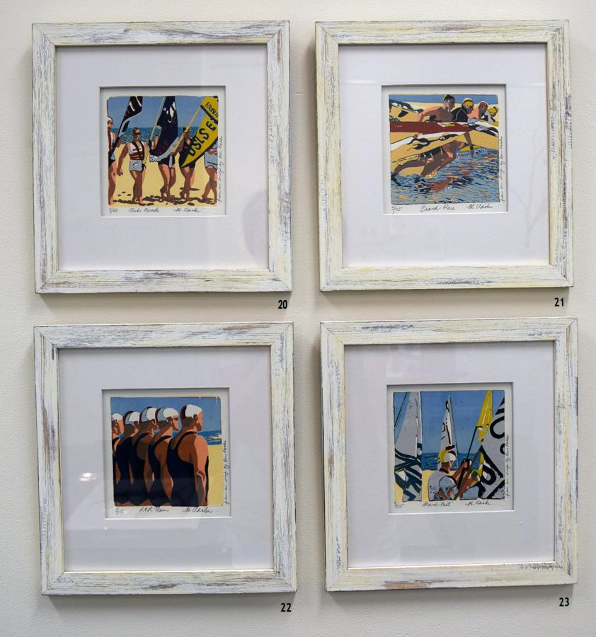 20 - 23. Helen Clarke, linocut series, $200 each