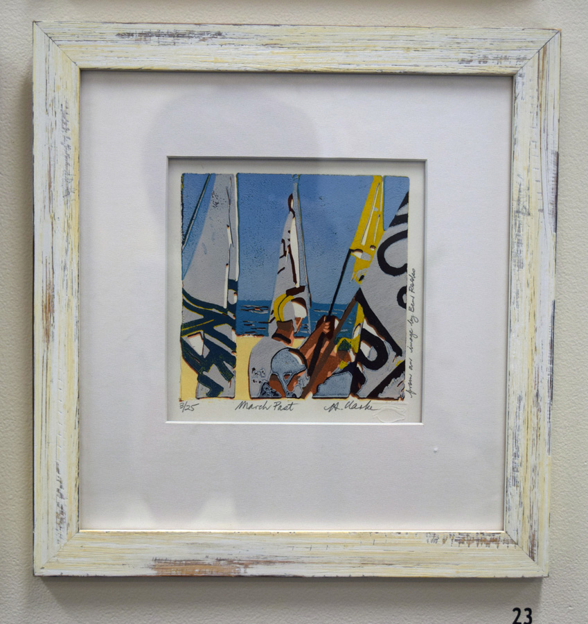 23. Helen Clarke,  March Past , 3 of 25, linocut, $200