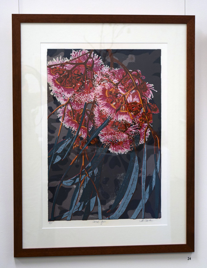 24. Helen Clarke,  Coral Gum , 4 of 15, linocut,$990