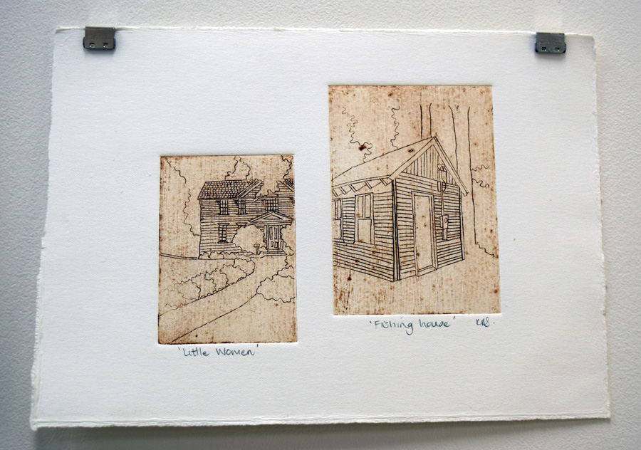 29. Kath Stanwix,  Little Women (Fishing House) , etching, $85
