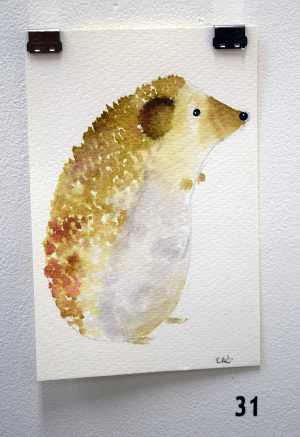 31. Kath Stanwix,  Hedgehog , ink wash, $70