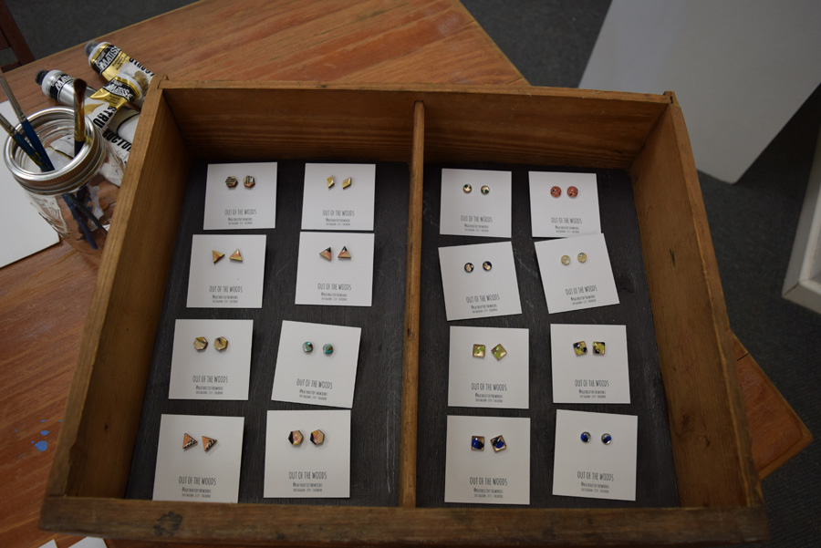 Gifted  - Kath Stanwix, lasercut and handpainted timber earrings and glass earrings, from $20 per pair