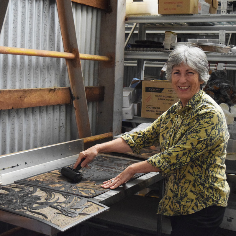 Printmaker Jude Taylor in her studio at Taylor's Coffee House