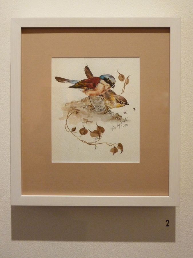2. 'Two Birds', Trudy Smith, watercolour on paper, Private Collection