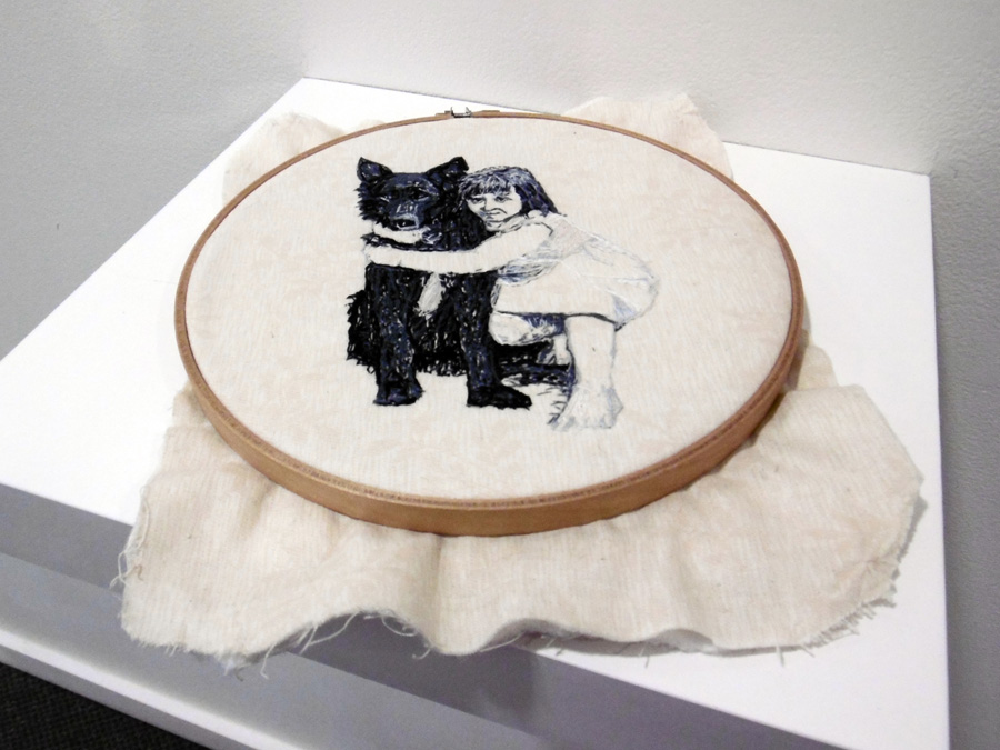 5. 'Leaving Bobby', Linda van der Merwe, hand embroidered with silk thread on padded cotton fabric, embroidery hoop, $275