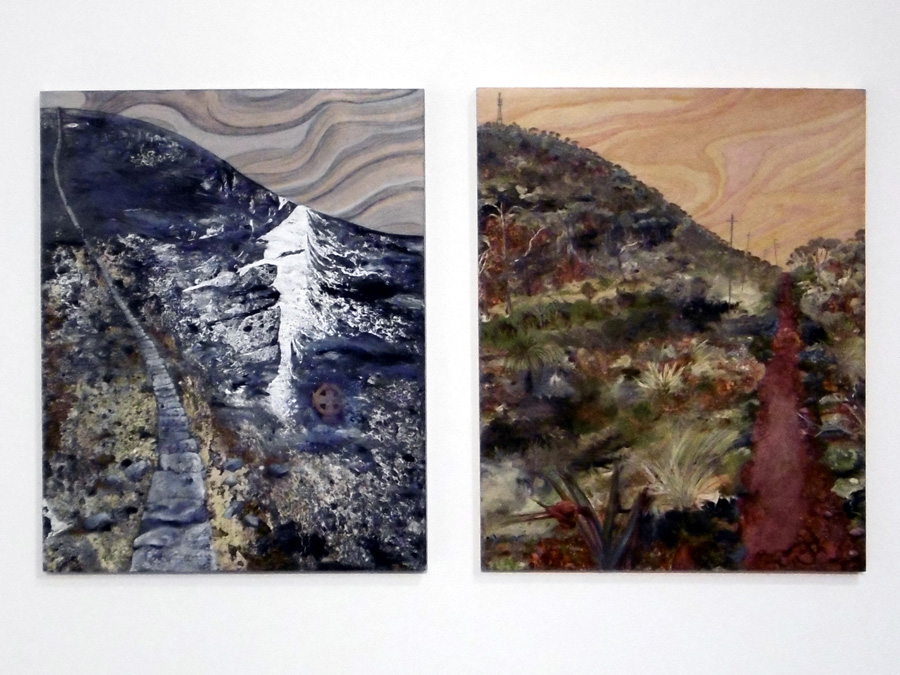 16. 'woven into and through each other', Caroline Lyttle, oil and collage on wood, diptych, $810