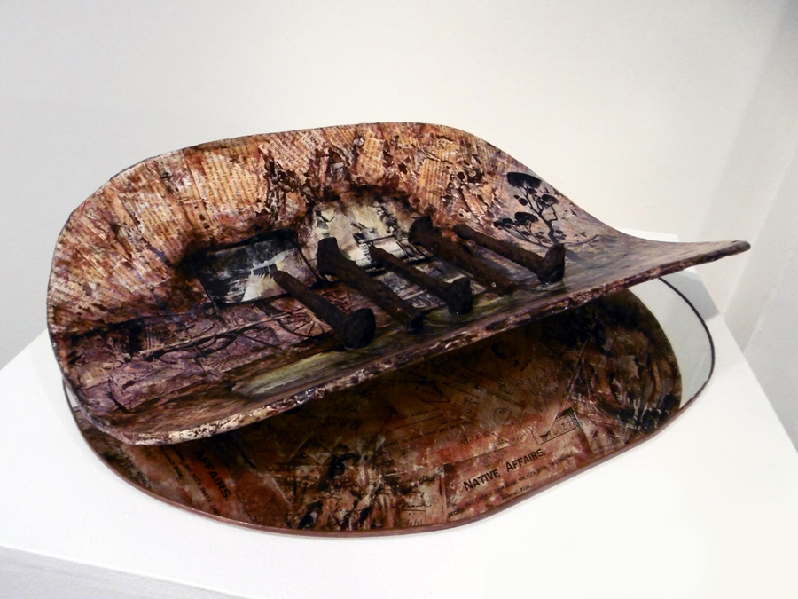 17. 'Colliding Cultures', Norma MacDonald, mixed medium on plywood, mirror, acquired by the Shire of Mundaring