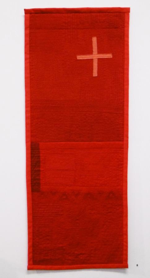 8. 'Red Cloth 1', Anne Williams, cotton, silk, $150