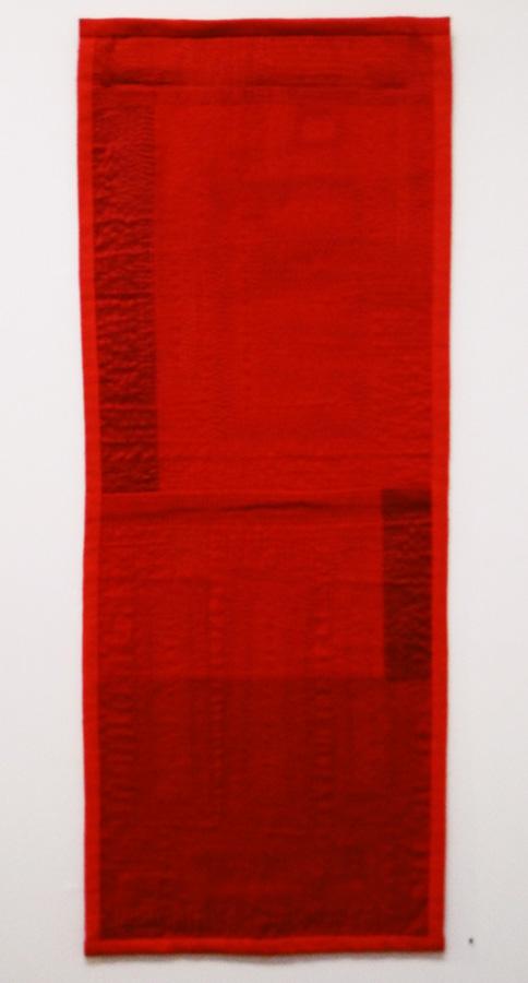 9. 'Red Cloth 2', Anne Williams, cotton, silk, $150