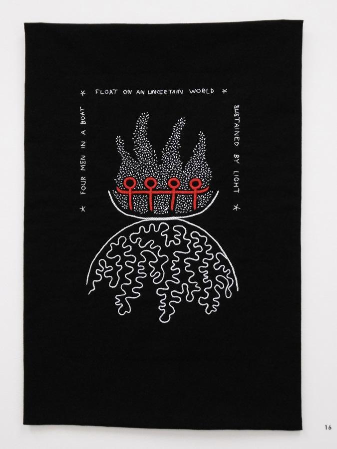 16. 'Four Men in a Boat', Anne Williams, cotton, $180