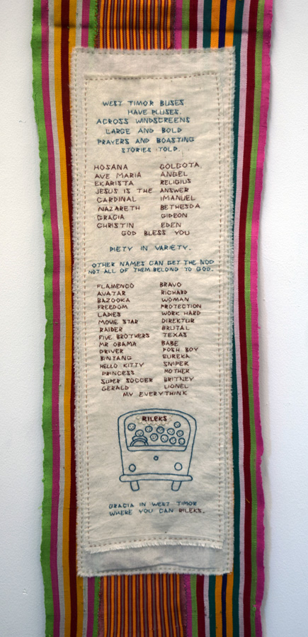 22. 'West Timor Buses' detail, Anne Williams, cotton, hand weaving by Timorese children, $140