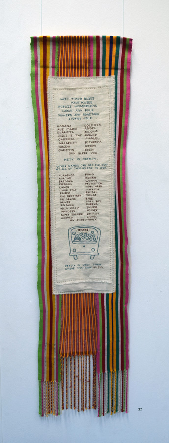 22. 'West Timor Buses', Anne Williams, cotton, hand weaving by Timorese children, $140