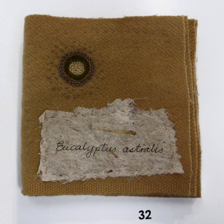 32. 'Eucalyptus astralis', Anne Williams, plant dyed woollen blanket, linen, hand made paper, hand dyed threads, $110