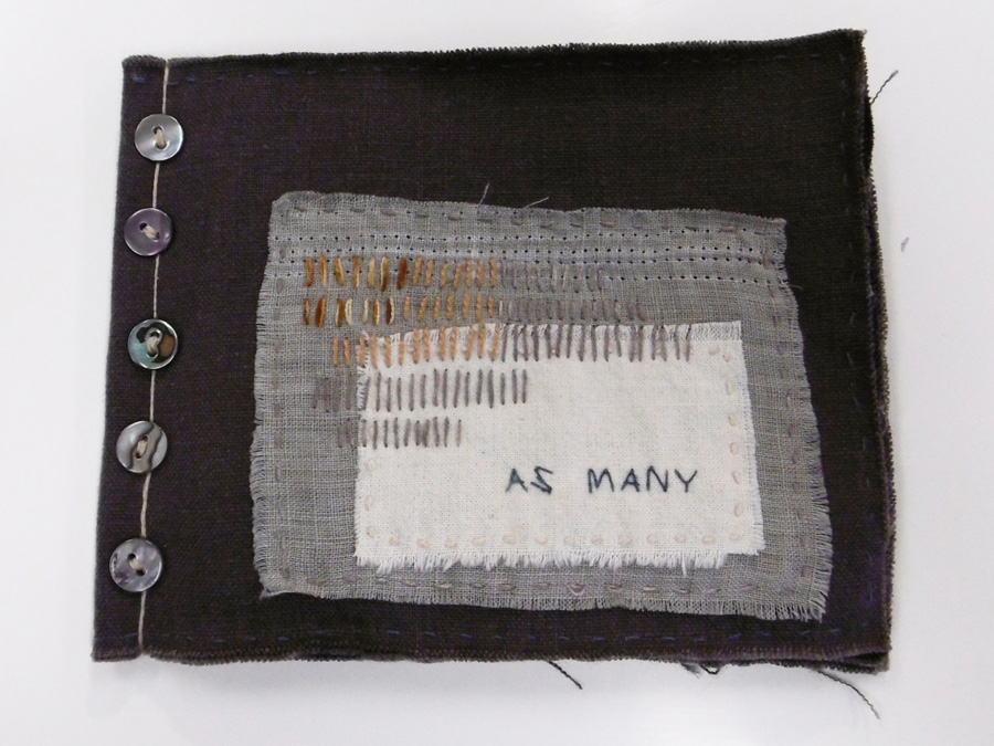 33. 'As Many', Anne Williams, linen, cotton, silk, pearl shell, $120