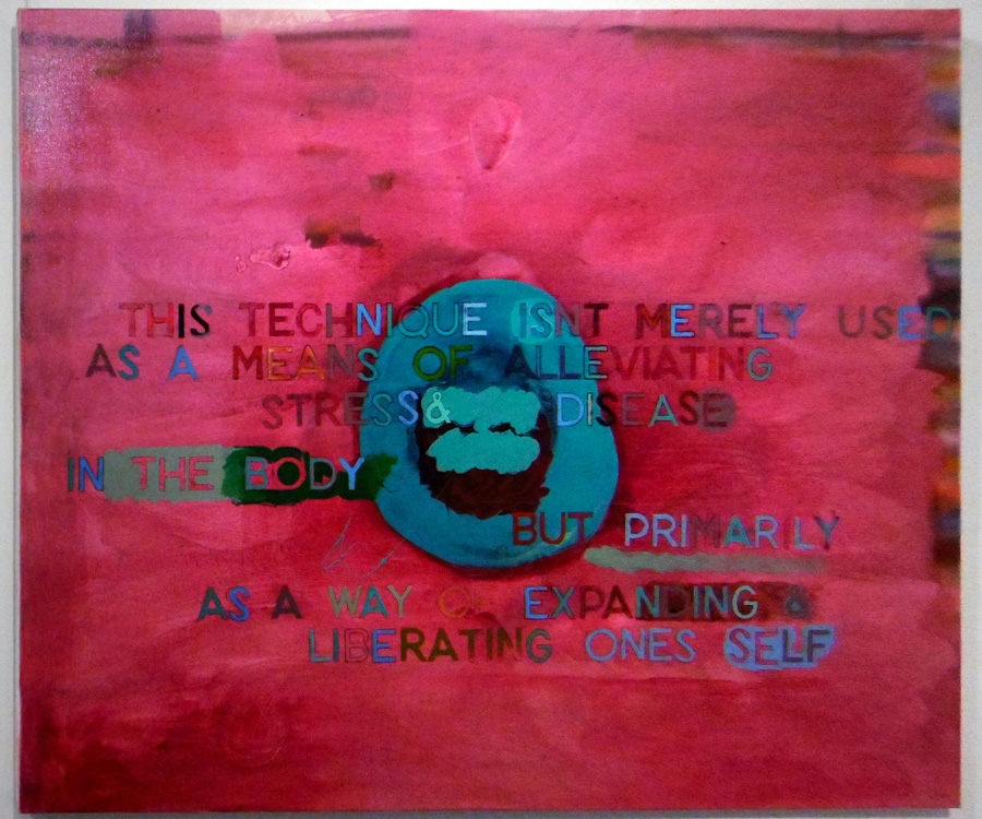 8. 'This technique isn't merely used as a means of alleviating stress in the body , but primarily as a way of expanding and liberating ones self', Antony Muia, acrylic on canvas, $4,200