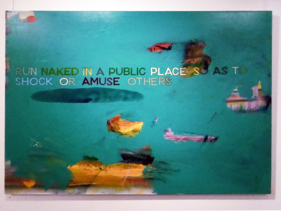 9. 'Run naked in a public place so as to shock or amuse others', Antony Muia, acrylic on canvas, $4,200