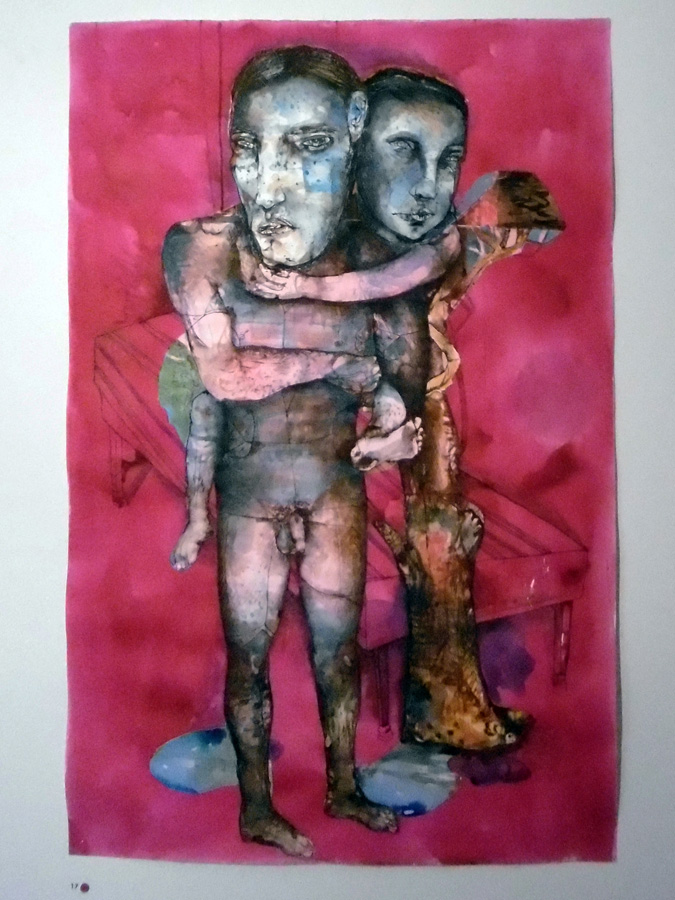 17. 'Father and Son', Antony Muia, mixed media on paper, $3,900