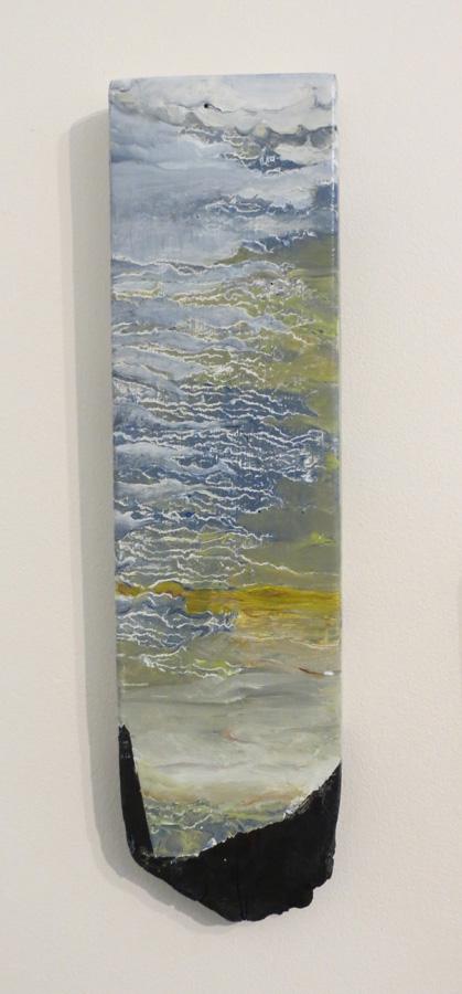 10. 'Waiting 1', Caroline Lyttle, oils on recycled wood, $140